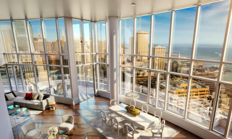 Lumina Penthouse - São Francisco, EUA: Esta casa oferece vistas icónicas de marcos de São Francisco, como a ponte de San Francisco e o Ferry Building. É composta por 5 quartos, uma sala de estar de altura dupla e um ginásio. Esta unidade de 1.400m² também possui 8 terraços e um terraço privado no último piso.