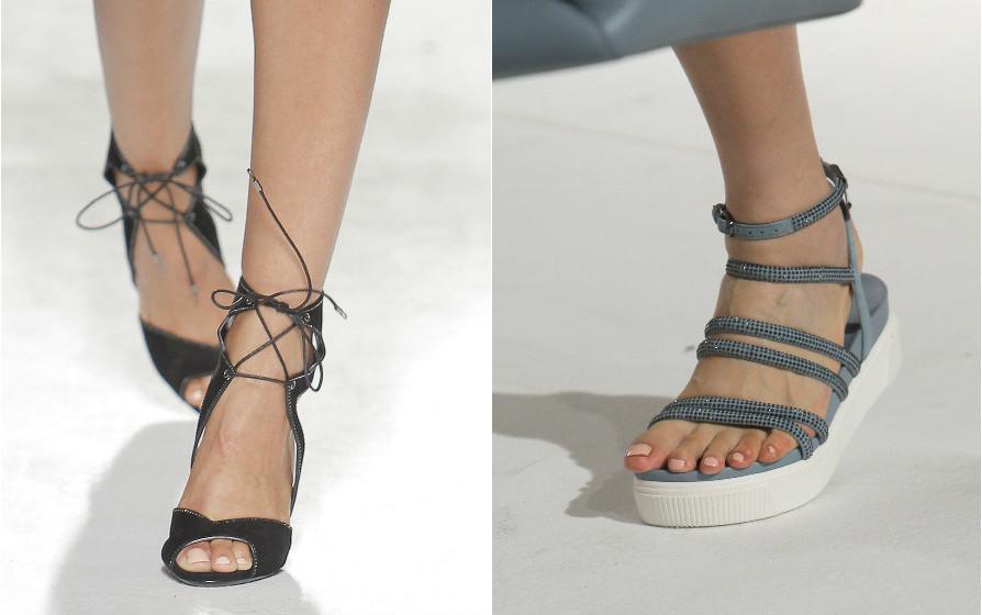 Luís Onofre: As sandálias adornadas com tiras de forte expressividade gráfica criam planos e texturas inesperados. A envolver o tornozelo e até a perna, jogam com os contrastes dos espaços vazios, realçando o formato do pé, como acontecia com as sandálias da Grécia Antiga.