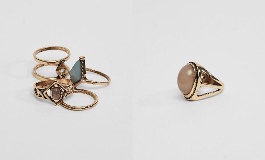 Os anéis acrescentam um toque especial a qualquer look mais básico. Use e abuse deles. Na imagem: Pull&Bear.