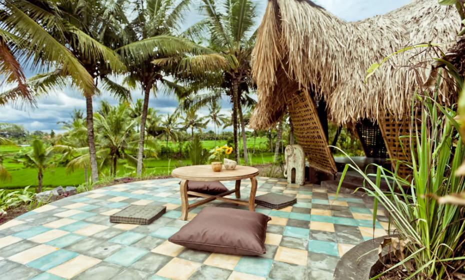 Chalé de Bamboo: Esta cabana de bamboo eco encontra-se nos campos de arroz, apenas a cinco minutos a pé do centro de Abud, Bali.