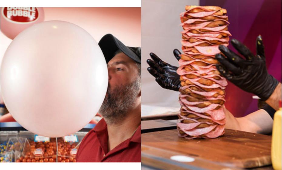 Sabe quantas fatias tem a maior sandes do mundo ou qual é o diâmetro do maior balão de pastilha elástica alguma vez feito? Estes são alguns dos atuais Recordes do Guiness mais surpreendentes.