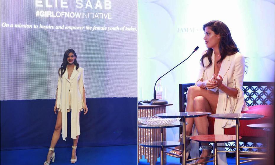 Numa palestra sobre o poder feminino, organizada recentemente pelo estilista Elie Saab, a modelo portuguesa Sara Sampaio destacou-se pelo seu discurso e pelo seu outfit totalmente branco pérola.