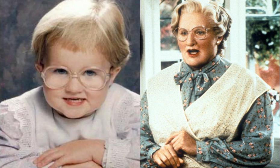 Não sabemos o nome da criança, mas o que é certo é que parece mesmo Robbie Williams no papel de Mrs. Doubtfire no filme 'Uma Ama Quase Perfeita'. (Fotos: reprodução Huffington Post)