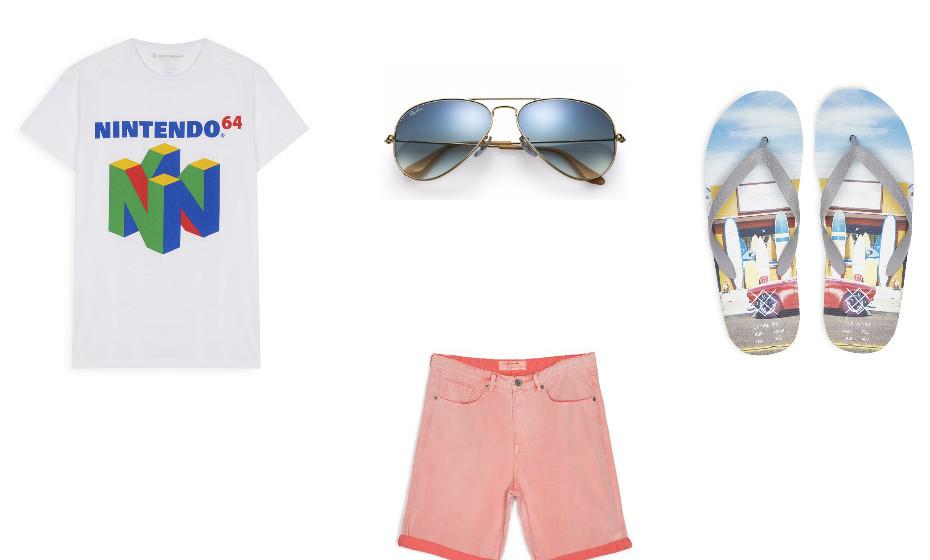 Este é assumidamente um look para um dia solarengo e feliz. Na imagem: t-shirt e chinelos da Primark, calções da Stradivarius e óculos de sol da Ray-Ban.