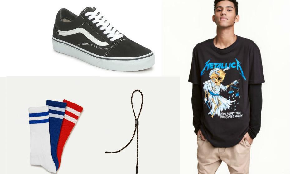 E para quem gosta de um estilo mais rockeiro, eis a nossa sugestão: uma t-shirt da H&M, sapatilhas da Vans, meias da Pull&Bear e um atilho para os óculos de sol da mesma marca.