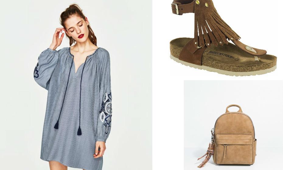 Não precisa de muitos apetrechos para fazer sucesso. Muitas vezes, um look simples diz tudo. Na imagem: Sandálias Birkenstock, vestido Zara e mala Parfois.