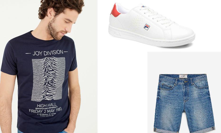Um look jovial e bem descontraído. Na imagem: t-shirt e calções Springfield e sapatilhas da Fila.