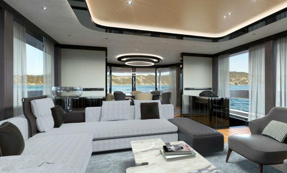 O mobiliário e a decoração foram desenvolvidos em colaboração com a marca de design italiana Minotti.