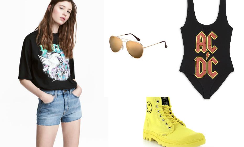 Um look mais rockeiro com umas sapatilhas vibrantes da Palladium. Na imagem: look e óculos de sol H&M e fato-de-banho Primark.