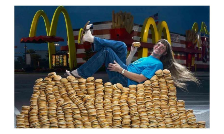 O maior consumo de Big Mac's foi alcançado por Donald Gorske, em Wisconsin, EUA, a 24 de agosto do ano passado. Gorske comeu 28,788 Big Mac's.