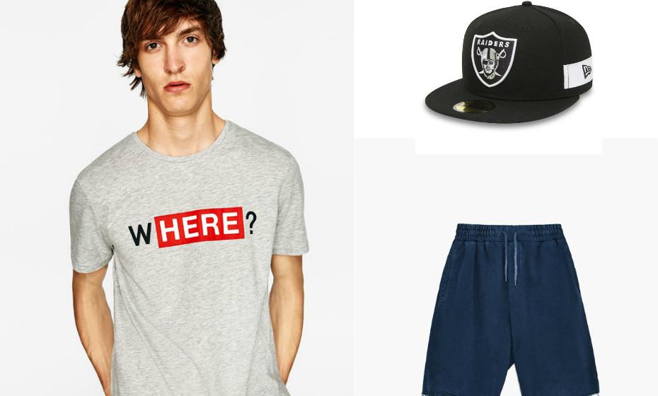 Os homens também podem dar mais do que cinco minutos de atenção ao seu look antes de sair de casa. Na imagem: t-shirt e calções da Zara, boné da New Era.
