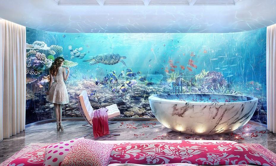 Dubai's Floating Seahorse Villas – Este espaço promete uma experiência de luxo verdadeiramente única. É uma casa flutuante de três andares, cuja imagem exterior é a primeira foto desta galeria. A parte subaquática tem um quarto principal e casa de banho, com um jardim de coral fora das paredes. É um projeto da The Heart of Europe.