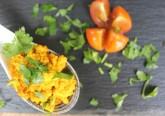1- Tofu mexido com tomate cereja e salsa