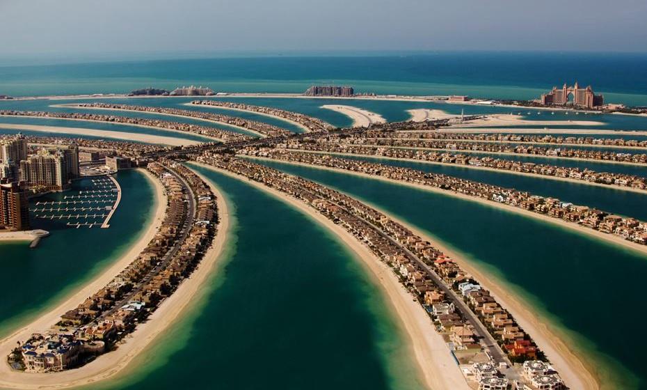 Palm Jumeirah, uma das ilhas que compõem o arquipélago em forma de palmeira no Dubai.