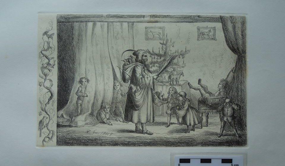O rei D. Fernando II rodeado pelos seus sete filhos em redor da Árvore de Natal. Autor: D. Fernando II. Foto: Ana Cristina Machado