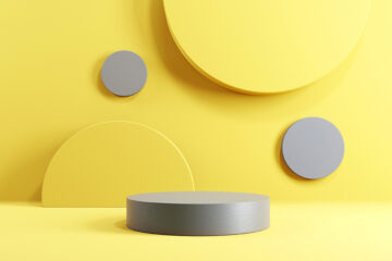 Abstract minimal scene with geometric forms. Cylinder podium sta