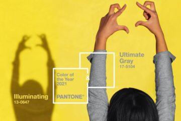 2021: Ultimate Gray + Illuminating. A Pantone 17-5104 Ultimate Gray + Pantone 13-0647 Illuminating é uma combinação de amarelo e cinzento, de luz e fortaleza, que pretende ser uma mensagem de força e esperança.