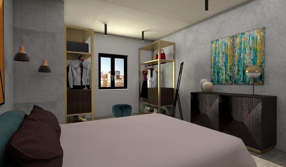1. Quarto - móvel para roupa de cama e detalhes a latão escovado nos módulos do closet e no candeeiro do móvel