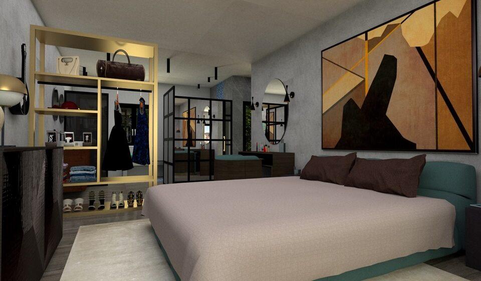 3. Quarto - tapete de seda e módulo de closet como divisória entre o quarto e a instalação sanitária
