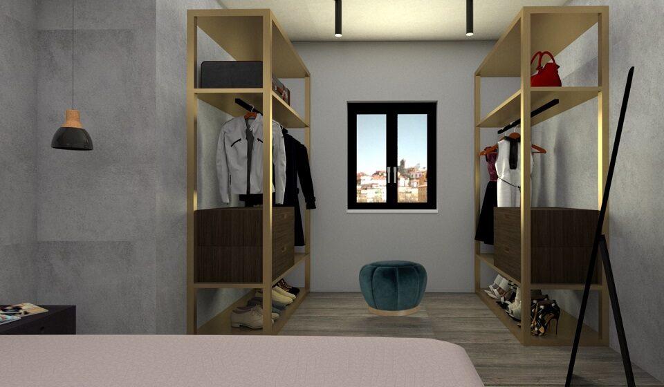 4. Closet - pufe de apoio e espelho de corpo inteiro