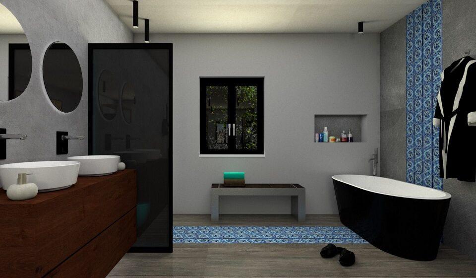 5. Instalação sanitária - cabide para roupão de banho e nicho para os produtos de banho