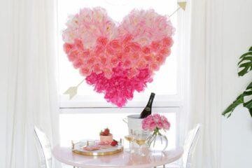 Mesa de refeição romântica.