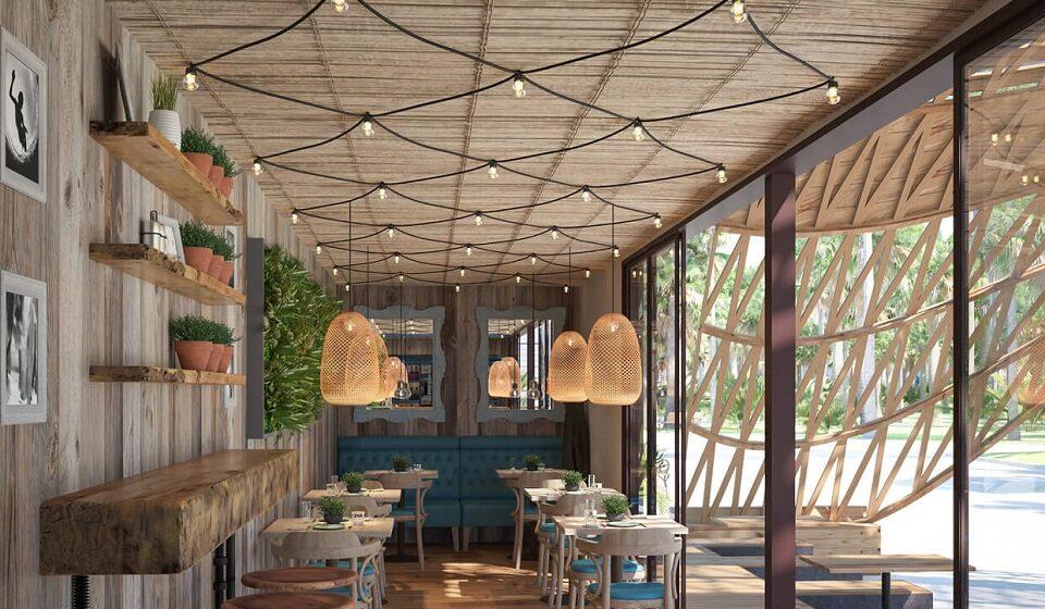 7. Restaurante Eco-natural - cor azul, candeeiros de material natural, plantas