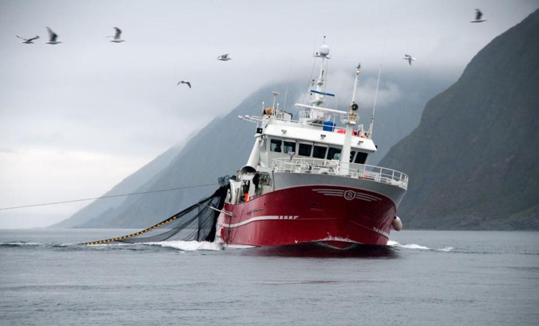 barco a fazer pesca de arrasto