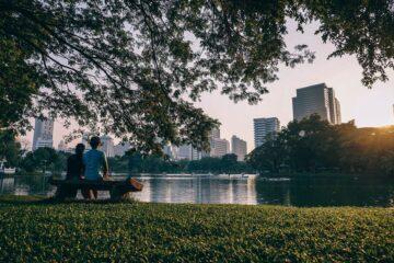 casal a olhar a cidade no parque