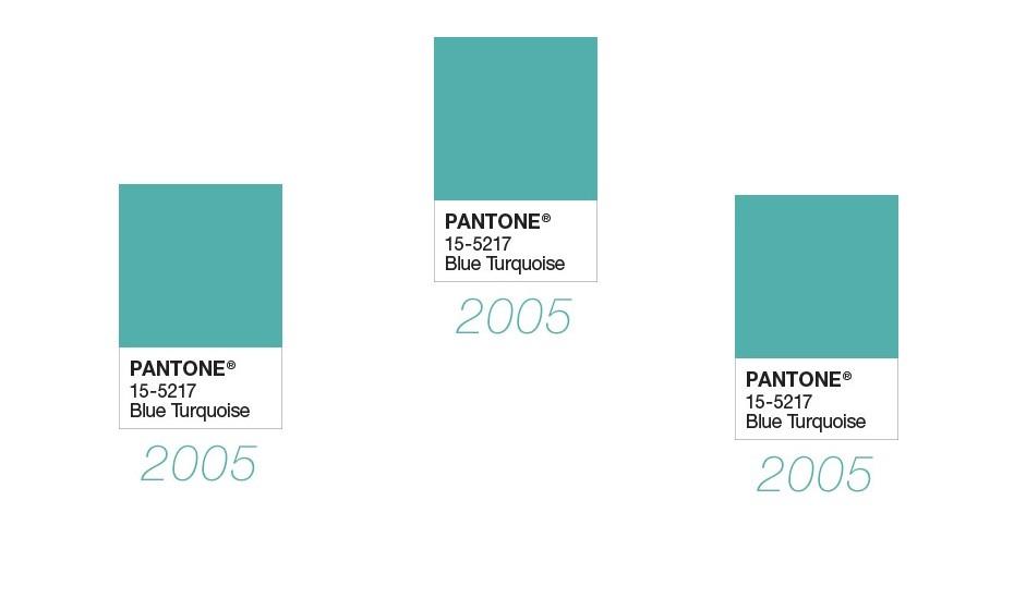 2005: O azul turquesa do a cor deste ano, nomeadamente o tom 15-5217.