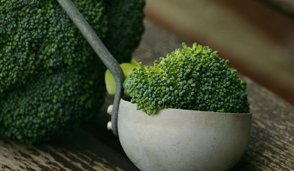 Brócolos: Uma porção 156 gramas de brócolos cozido contém 1 mg de ferro, o que representa 6% da DDR.