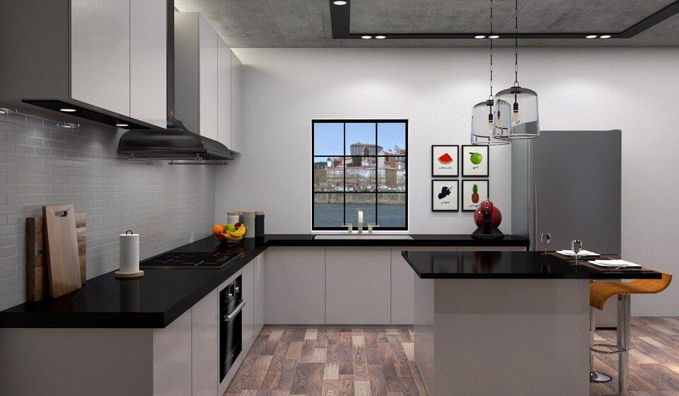 Cozinha INDUSTRIAL - Câmpanulas de vidro, microcimento no teto e exaustor industrial