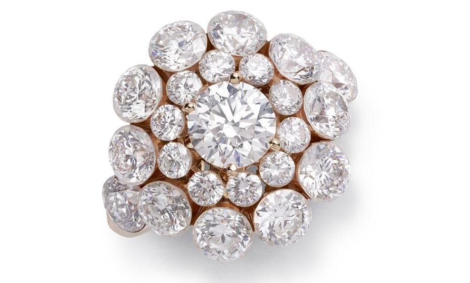 Anel de  ouro rosa e diamantes