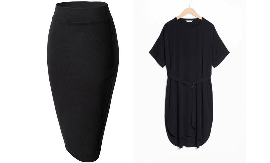 Saia lápis e vestido preto