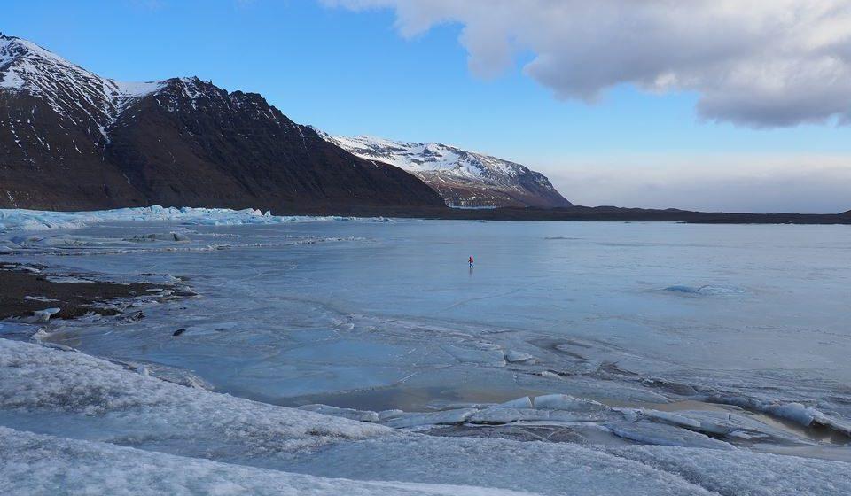 Gelo sobre o fogo em Vatnajökull (Islândia)