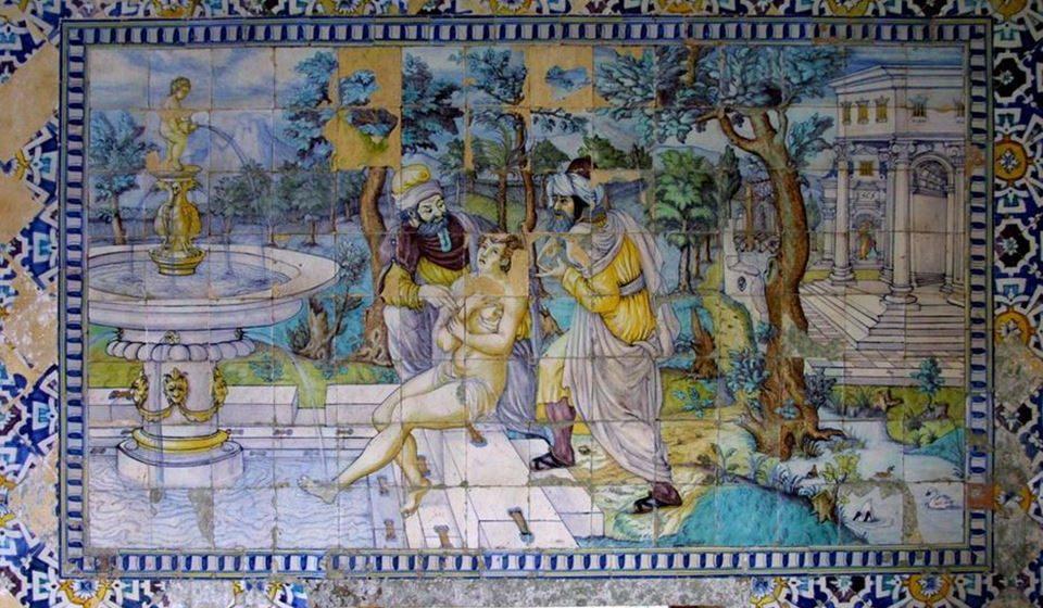 Azulejo Susana e os Velhos na Quinta da Bacalhoa.
