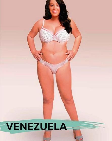 Venezuela: Ao contrário do esperado, a mulher da Venezuela está no quarto lugar das mais pesadas. Este país da América do Sul é conhecido pelos seus rigorosos padrões de beleza. Fica provado com esta experiência que a noção de beleza está ligada À herança cultural. (Por Joana de Sousa Costa. Fotos: Superdrug Online Doctors)