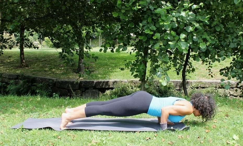 Chaturanga Dandasana: Reforça os braços e os pulsos desenvolvem mobilidade e força. Contrai e tonifica os órgãos abdominais.