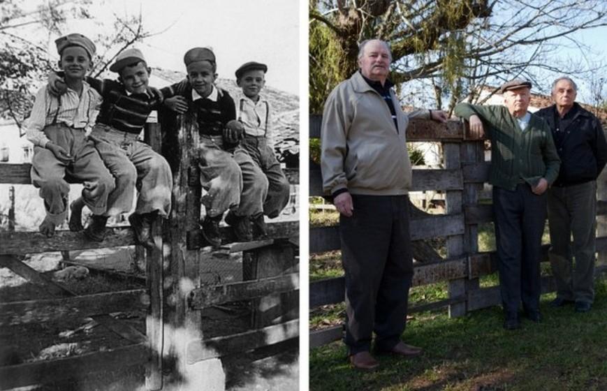 Os amigos em 1947 e em 2012.
