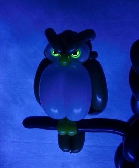A coruja teve os olhos iluminados para um efeito mais real.