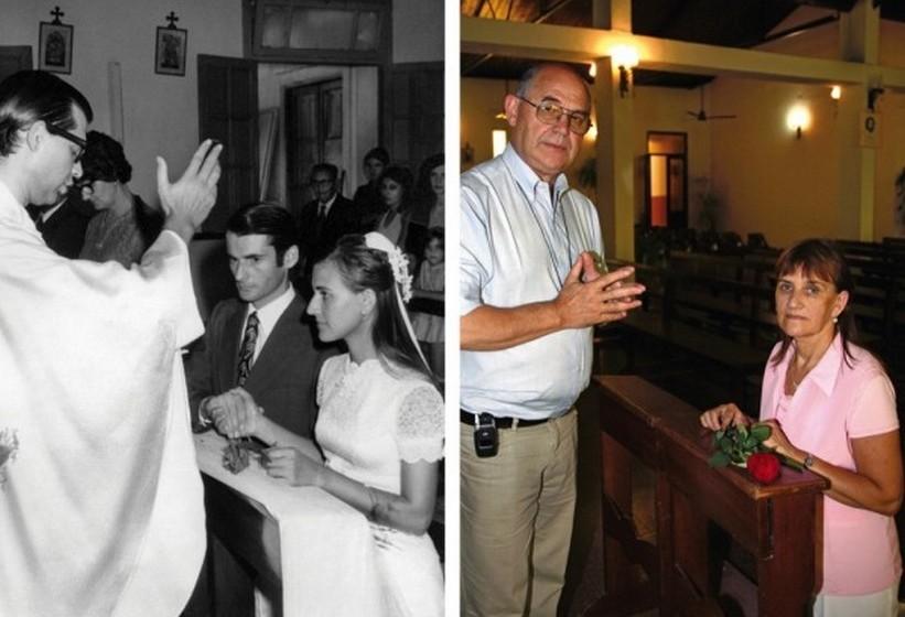 Raúl está ausente na reprodução da foto do seu casamento.
