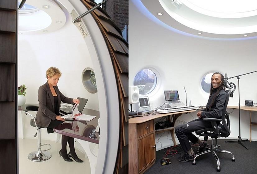 O casulo pode transformar-se num escritório ou noutro espaço de trabalho.
